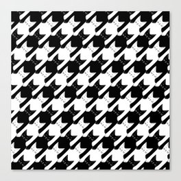 cats-tooth in black and white (houndstooth pattern) Canvas Print