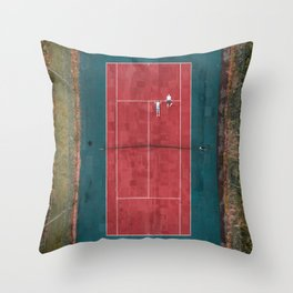 Tennis court, view of drone Throw Pillow