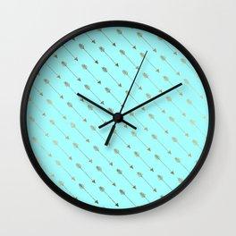 Modern teal faux gold bohemian chic arrow pattern Wall Clock