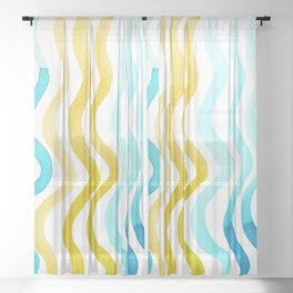 Wavy lines - yellow and blue Sheer Curtain