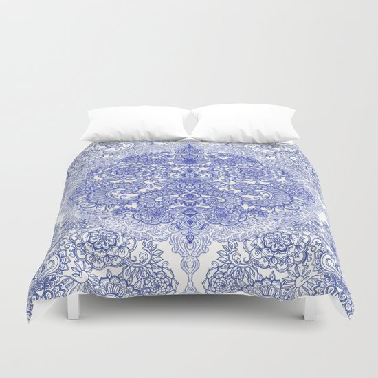 Happy Place Doodle in Cornflower Blue, White & Grey Duvet Cover