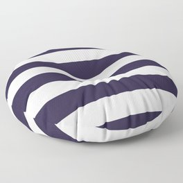 Dark eclipse Blue and White Wide Horizontal Cabana Tent Stripe Floor Pillow
