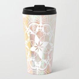 Lotus white mandala on pink Travel Mug