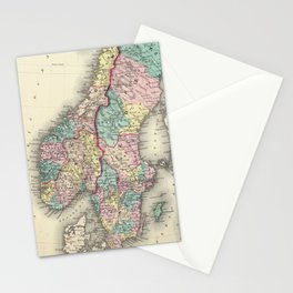 Vintage Map of Norway and Sweden (1856) Stationery Cards