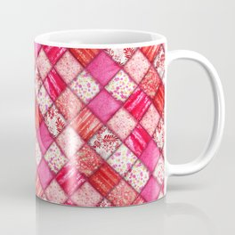 Faux Patchwork Quilting - Pink and Red Coffee Mug