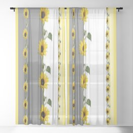 LINEAR YELLOW SUNFLOWERS GREY & WHITE ART Sheer Curtain