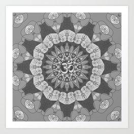 Mandala pattern gray yoga namaste floral om boho Art Print