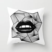 lips Throw Pillows featuring Lips by Aurelie