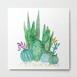 Cacti and succulents . Watercolor . Metal Print