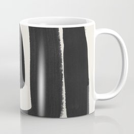 Black Ink Paint Brush Strokes Abstract Organic Pattern Mid Century Style Coffee Mug