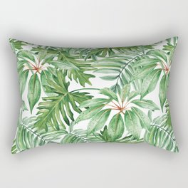 Palm leaves, Green, Banana leaves, Plants, Curtain, Jungle Rectangular Pillow