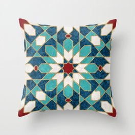 Multicolored Marble Moroccan Mosaic Throw Pillow