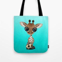 Cute Baby Giraffe With Football Soccer Ball Tote Bag