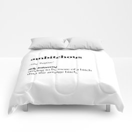 Ambitchous black and white contemporary minimalism typography design home wall decor bedroom Comforters