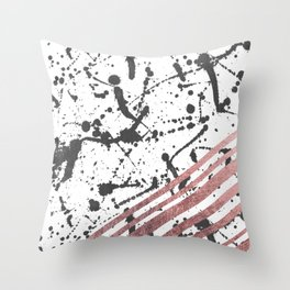 Modern Black Ink Splatter Rose Gold Stripes Throw Pillow