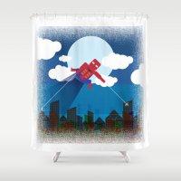 spider man Shower Curtains featuring spider man by voskovski