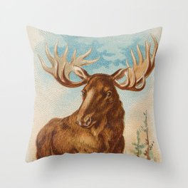 Vintage Illustration of a Moose (1890) Throw Pillow