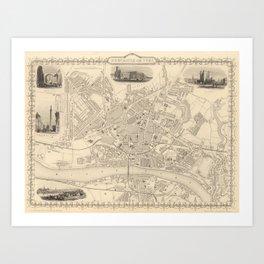 Vintage Map of Newcastle England (1851) Art Print