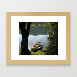 boats on the river Framed Art Print