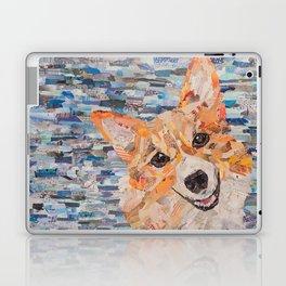 corgi on blue background Laptop & iPad Skin