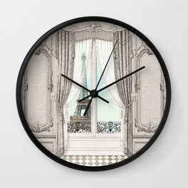 Eiffel Tower room with a view Wall Clock