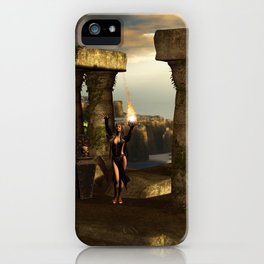 The dark fairy with kulls in the night iPhone Case