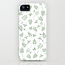 Green Leaves Design on White iPhone Case