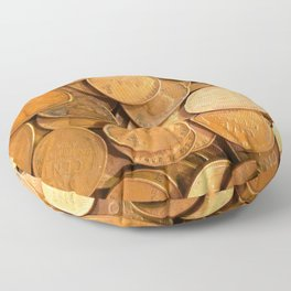 Watercolor Coins, Lincoln Wheat Pennies, 1952 01 Floor Pillow