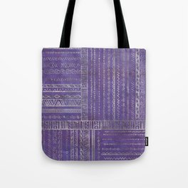 Tribal Ethnic pattern silver on  purple Tote Bag
