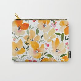 Yellow and Orange Floral Carry-All Pouch