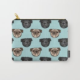 Black and Fawn Pug Faces Carry-All Pouch