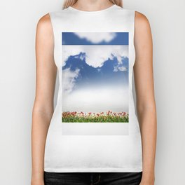 Red and yellow tulips and cloudscape Biker Tank