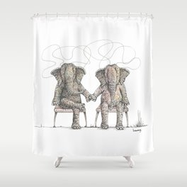 Loving Elephants Sitting Shower Curtain
