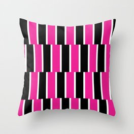 Shifted Illusions - Black and Pink Throw Pillow