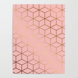 Pink and Gold Geometry 011 Poster