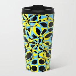 yellow blue circle pattern Metal Travel Mug