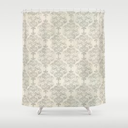 Beige Watercolor Damask Pattern Shower Curtain