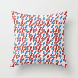 80's Style Red and Blue Dashes Throw Pillow