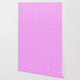 Gingham Pink and White Pattern Wallpaper