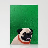 pug Stationery Cards featuring Pug by Nir P