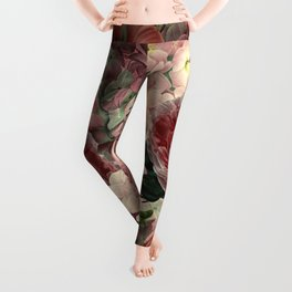 Vintage & Shabby Chic Pink Dark Floral Roses Lilacs Flowers Watercolor Pattern Leggings