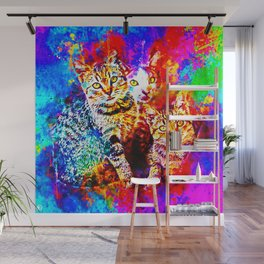 cat trio splatter watercolor colorful background Wall Mural
