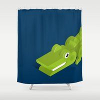 crocodile Shower Curtains featuring Crocodile by Mezoozoo