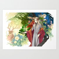 legolas Art Prints featuring Thranduil & Legolas by kagalin