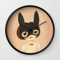 bunny Wall Clocks featuring Bunny by The Midnight Rabbit