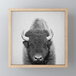 Buffalo - Black & White Framed Mini Art Print