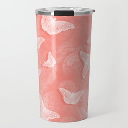 A flutter of butterflies on peach mandala patterns Travel Mug