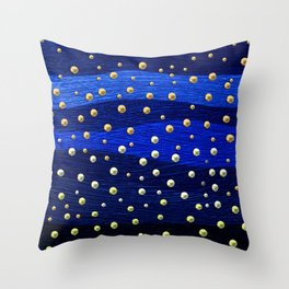 Metallic Blue Background with Shiny Dots Throw Pillow