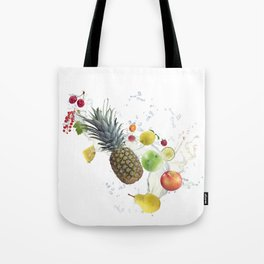 Fresh fruits and berries  with water splash Tote Bag
