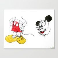 mickey Canvas Prints featuring Mickey by bearh.